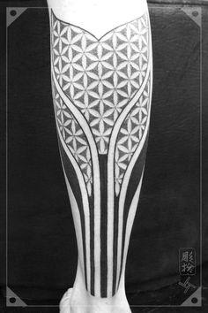 Blackwork Tattoo Floweroflife Pattern