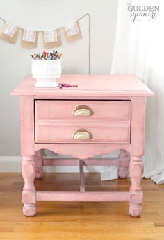 Pink milk painted night stand with gold drawer pulls #mmsmilkpaint