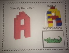 Alphabet mats for students to build 3d lego letters as well as match a picture with that beginning sound. Hands on and engaging way for students to practice letter and sound identification.