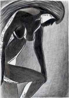 In Darkness - aceo mini print (2.5 x 3.5) - female figurative - pencil drawing - with John Milton quote - in mirror writing - small fine art