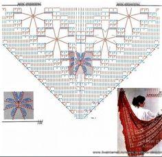 Poncho Crochet, Knitted Shawls, Crochet Scarves, Shawl Patterns, Crochet Patterns, Bridal Shawl, Crochet Diagram, Sem Internet, Crochet Accessories