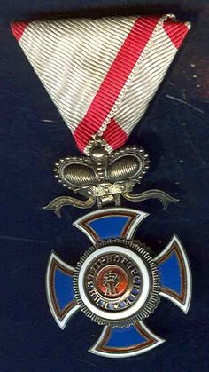 Montenegro Order of Danilo Knight Cross, Gold & Silver with Ribbon.