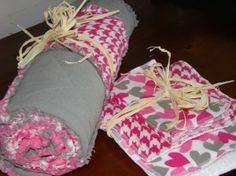 Homemade quilt, burp cloths and cloth wipes...@Tamika V. Straight talent!