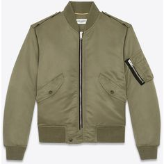 Saint Laurent Classic Bomber Jacket In Khaki Nylon ($2,290) ❤ liked on Polyvore featuring outerwear, jackets, tops, chaquetas, coats, army green, flight jacket, nylon bomber jacket, nylon flight jacket and olive green jacket