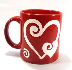 Waechtersbach Germany Red White Heart Swirl Ceramic Coffee Mug Valentine's Day #waechtersbach