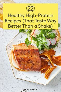 22 Healthy High-Protein Recipes (That Taste 10 Times Better Than a Shake or Snack Bar) Healthy High Protein Meals, High Protein Recipes, Banana Recipes, Protein Foods, Low Calorie Recipes, Dinner Healthy, Zoodle Recipes, Vegetarian Recipes, Healthy Recipes