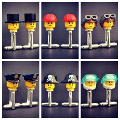 LEGO® Top Hat Cufflinks, Pilot, Scuba Diver, Pirate, Cowboy, Police Officer, Builder, Bald- Minifigure Job Cufflinks