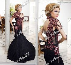 2015 Custom Made Newest Mermaid Gothic Victorian Prom Dresses with Rhinestones Lace Beaded Black And Red Luxury Evening Gowns