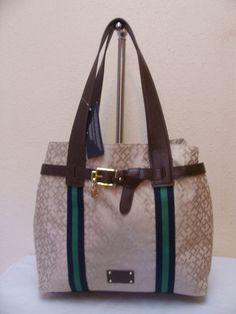 Tommy Hilfiger Style NS Tote 6918254 235 Beige Brown Blue Retail Price $85.00 #TommyHilfiger #TotesShoppers