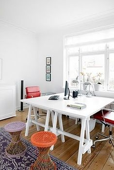 double desk idea - paint sawhorses and put painted top on the size you want!