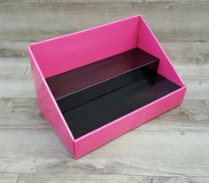 Pink Counter Display with Black Insert from Stack Displays. Product Displays and Accessories for vendors and crafters. Craft show and vendor table displays.