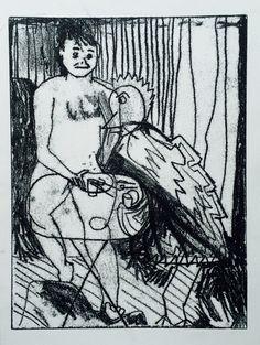 "Linn Sundqvist ""Dining with Bird"" Monoprint on paper"