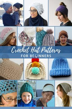 60+ Free Crochet Hat Patterns for Beginners Crochet Baby Hat Patterns, Crochet Beanie Pattern, Crochet Baby Hats, Crochet Yarn, Knitted Hats, Crochet Ideas, Crochet Headbands, Crochet Projects, Knitting Patterns