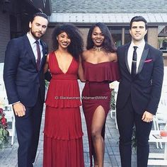 Two gorgeous interracial couples attending a friend's wedding #love #wmbw #bwwm