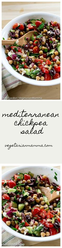 Mediterranean Chickpea Salad is a delicious meal that can be prepped ahead of time. This is a salad that keeps on giving! One bite and you'll be hooked! | Food Recipes