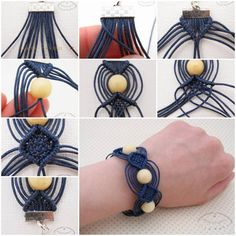 DIY unique macrame beaded bracelet - makramee oder so - Hemp Jewelry, Macrame Jewelry, Macrame Bracelets, Handmade Jewelry, Handmade Art, Jewelry Necklaces, Macrame Knots, Paracord Bracelets, Ankle Bracelets