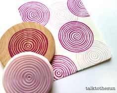 spiral circles stamp. geometric hand carved rubber stamp. circle pattern stamp. gift wrapping. mounted