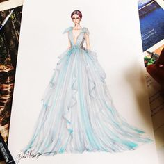 Fashion Design Drawing Eris Tran Gown Designs - The collection of gown designs by fashion illustrator Eris Tran showcase the artist's avant-garde approach to traditional dress design. Dress Design Sketches, Fashion Design Sketchbook, Fashion Design Drawings, Fashion Sketches, Dress Designs, Dress Illustration, Fashion Illustration Dresses, Fashion Illustrations, Fashion Week