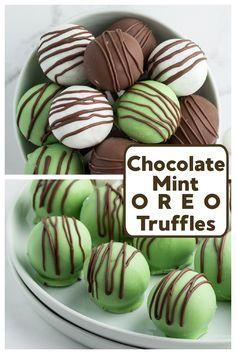 Chocolate Mint Oreo Truffles recipe from RecipesForHolidays.com #chocolate #mint #oreo #truffles #recipe #RecipesForHolidays Oreo Truffles Recipe, Oreo Cookie Recipes, Homemade Truffles, Truffle Recipe, Fudge Recipes, Candy Recipes, Sweet Recipes, Chocolate Mint Cookies, Chocolate Candy Melts