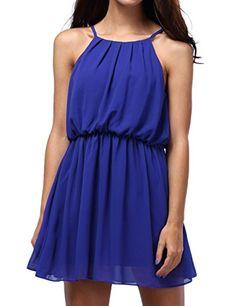 Bepei Damen Chiffon Minikleid Armlos Tailliert Shirtkleid Sommerkleid Strandkleid Blau S