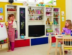 Playroom Furniture, probably mounting TV higher on the wall would be a better idea for toddlers.