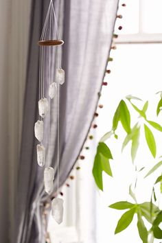 White Quartz Crystal Mobile, this would go so cute in like the corner of a room to bring in some life!