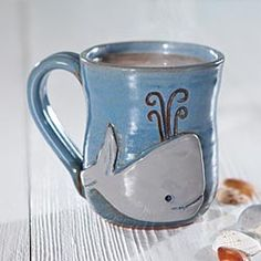 Stoneware Whale Mug