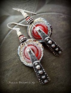Pewter Charms, Inviciti, Lampwork Glass, Discs, Rustic,Tribal, Hoop, Organic, Primitive,Beaded Earrings by YuccaBloom on Etsy