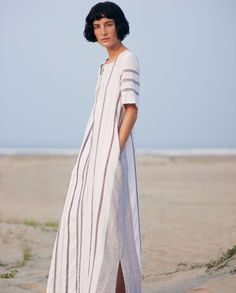 Love the stripe and placement on this caftan. Get the look - IMHO, the best sewing patterns are vintage and out on Etsy...also, Butterick 5725