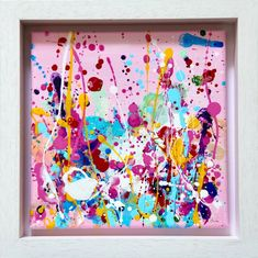 An original painting of joyful colours that will bring a happy ... Contemporary Art For Sale, Contemporary Paintings, Information Art, White Box Frame, Pink Painting, Irish Art, Happy Art, Pink Art, Selling Art