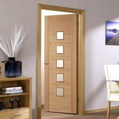 Bespoke Carini 5 Pane Oak Door with Clear Safety Glass - Prefinished.  #glazeddoor  #moderninterior #interiordoor #oakdoor #bespokedoor #newdoor
