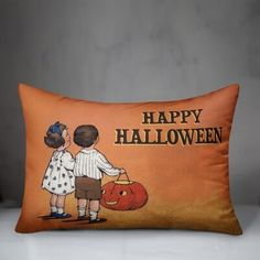 The Holiday Aisleâ® Cadenza Vintage Halloween Trick Or Treating Kids Lumbar Pillow The Holiday AisleA