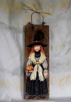 """Remarkable Rose, Halloween Witch, hand painted witch on old barn wood, 4"""" X 13"""""""