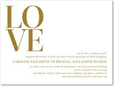 gold foil wedding invitation | Foil Stamping Wedding Invitations Inside Love - Front : Gold Foil
