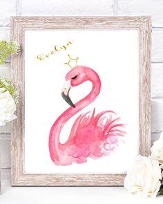 Flamingo Nursery Decor, Flamingo Print by Elena Fay