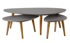 3 mesas bajas de madera gris An. 50 a 120 cm Cleveland