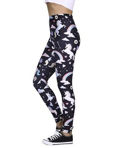 c974f09de6dcfb Women's Leggings Graphic Print Tights Fun Digital Design Holiday Elastic  Pants Unicorn Leggings, Women's Leggings