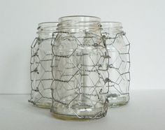 Chicken wire covered jars...