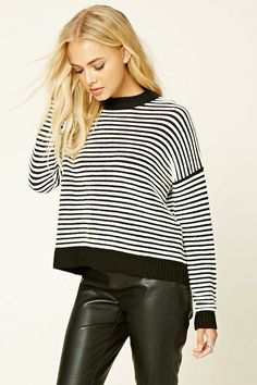 STRIPED HIGH NECK SWEATER