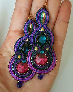 biżuteria soutache, haft koralikowy, torby z filcu: Soutache Necklace, Tassel Earrings, Statement Earrings, Drop Earrings, Boho Jewelry, Women Jewelry, Earring Trends, Black Earrings, Wedding Earrings