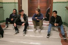 carlos penavega, andrew call, aaron tveit, and jordan fisher backstage in rehearsal for grease live