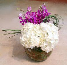 Hydrangea, Mokara Orchid & Green Accent