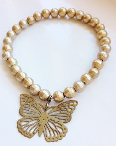 Pretty and Intricate! Gold Butterfly Charm Stacking Bracelet by ElizaSophieDesigns Pearl Necklace, Butterfly, Charmed, Jewellery, Pearls, Bracelets, Pretty, Gold, Bangles