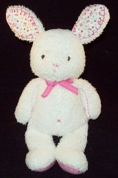 """Carters White Bunny Rabbit Pink Floral Stitched Ears Giggles Baby Toy 13"""" Flower #Carters"""