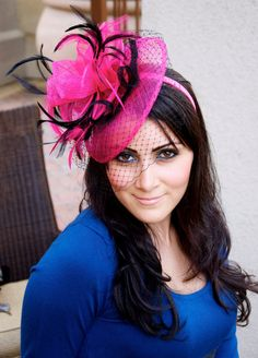 Fuchsia Fascinator - Fuchsia & Black Fascinator Hat Headband w/Ribbon waves a black birdcage veil