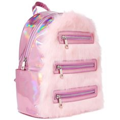 Sugar Thrillz Pink Furry Backpack ($40) ❤ liked on Polyvore featuring bags, backpacks, holographic backpack, holographic bags, pink bag, zipper bag and knapsack bag
