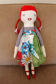 handmade + screen printed doll