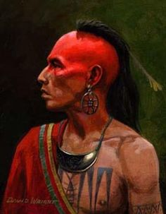 This is an Algonquin indian who has been painted for either a war or a celebration. Native American Warrior, Native American Tribes, Native American History, American Indians, American Symbols, Native American Paintings, Native American Images, American Indian Art, American Women