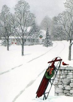 Snowy Christmas - I love snowy Christmas scenes! The bird and sled are awesome!