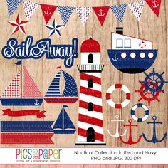 Nautical Clipart in Red and Blue - includes sailboats, anchors, penant banner and more.  Great for invitations, card making, scrapbooking and more.